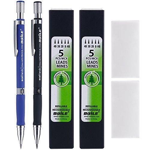 2 Pièces Crayons Mécaniques 2.0 mm 2B avec 2 Cas Recharges de Plomb et 2 Pièces Gommes à Effacer pour Dessin, Charpentier, Artisanat, Croquis d'Art (Bleu et Noir)