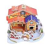 Toyvian LED Weihnachtshaus Weihnachtsdorf Weihnachtsschmuck Weihnachten 3D Puzzle Haus Miniatur Puppenhaus für Kinder DIY Handwerk