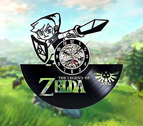AIYOUBU The Legend of Zelda: Ocarina of TimesIdea Regalo per Fan diOrologi in VinileBlack Art-with_LED