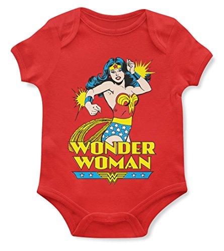 1/4 Mile Kult Offiziell Strampler Babybodys Retro Wonder Woman Mädchen Strampelanzug (0-3, Rot)