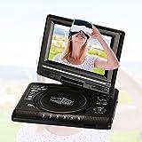"""Auntwhale Reproductor de DVD portátil de 7.0""""con batería recargable, pantalla giratoria, tarjeta SD USB Juego de TV FM - Negro"""