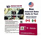 Prepaid SIM Card - 8GB Internet Data USA, Canada and Mexico - Unlimited Calls and Texts (15 days)