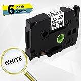 Label-online 6x Klebebandkassette kompatibel für Brother TZe-231 Laminiertes Etikettenband - schwarz auf weiß - Rolle 12mm x 8m