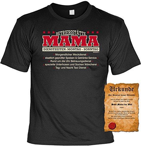 Muttertagsgeschenk für Mama Betriebsstätte Mama Tshirt mit Urkunde Muttertag Geschenk zum Muttertag Farbe: schwarz Schwarz