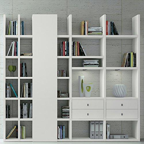 Wohnwand Bücherregal CD DVD Regal TOLEO238 weiß lackiert, LED - 2