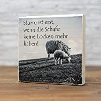 elbPLANKE - Sturm ist erst, wenn die Schafe Keine Locken mehr haben | 10x10 cm | Holzbilder von Fotoart-Hamburg | 100% Handmade aus Holz (Kiefer/Fichte)