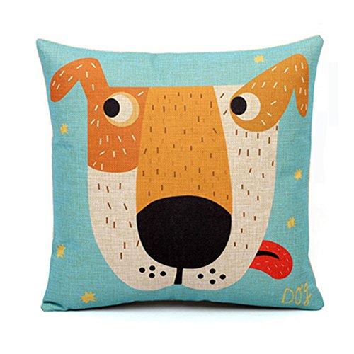 Hund-wurf-kissen (Karikatur-Muster-Baumwoll-Leinen-dekoratives Wurf-Kissen, Hund)