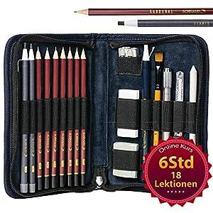 SCHNAUD Zeichenset für Anfänger mit Online-Kurs - 7 Bleistifte, 2 Kohlestifte und Zeichnen Zubehör, ideales Bleistift Set zum Zeichnen Lernen und Skizzieren in Künstler Kit Bag