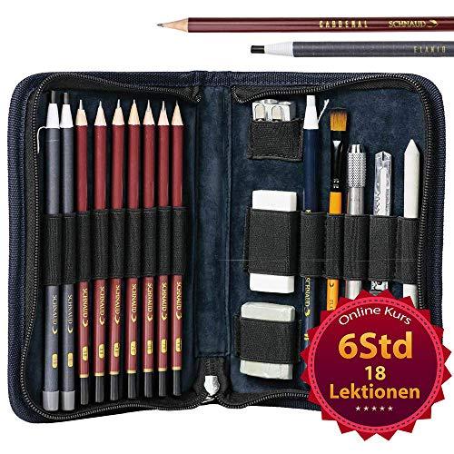 SCHNAUD Zeichenset mit 7 Bleistiften und 2 Kohlestiften - Enthält 6 stündigen Online-Video-Kurs und 17 hochwertige Zeichenutensilien, Ideal für jeden der Zeichnen Lernen Will!