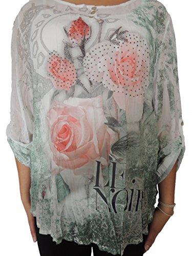 Verschiedene Farben zur Auswahl 2 teilig Blusen mit Unterhemd Größe 42,44,46 Grünton