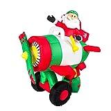 XXL LED Weihnachtsmann IM Flugzeug~150 cm HOCH~Inflatable~SELBSTAUFBLASEND~LED Beleuchtet~Garten DEKO Figur ~Air Blown~WEIHNACHTSDEKO~Weihnachtsmann~AIRBLOWN~AUFBLASBAR~