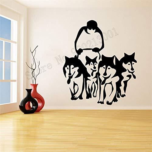 JXWH 80X92 cm Wandaufkleber Huskies Hunde Und Schlitten Poster Vinyl Art Removeable Wandbild Modernen Stil Ornament Aufkleber Decor -