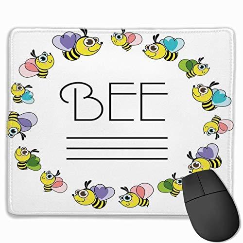 Niedliche Mausunterlage, haltbare genähte Kante, rutschfeste Gummibasis Computertastatur Mauspads für Büro - Landwirtschaft Honigbienen Tier Imker Bienenhaus Bienenstock Imker