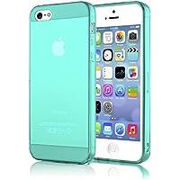 iPhone 5 5S SE Hülle Handyhülle von NICA, Ultra-Slim Silikon Case Cover Schutzhülle Dünn Durchsichtig, Handy-Tasche Backcover Transparent Bumper für Apple iPhone SE 5S 5 - Türkis / Grün Transparent