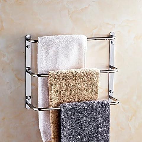 ZHGI Cuarto de baño de acero inoxidable 304 de tres niveles toallero toallero baño balcón creativo varilla de