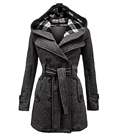 Womens Hooded Button Long Sleeve Belted Button Fleece Military Jacket Long Coat Plus Size