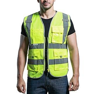 SFVest Chaleco Reflectante de Seguridad de Hombre Trabajador para Bicicleta Moto Marcha Deportes Nocturna con Multi Bolsollos – Amarillo Naranja
