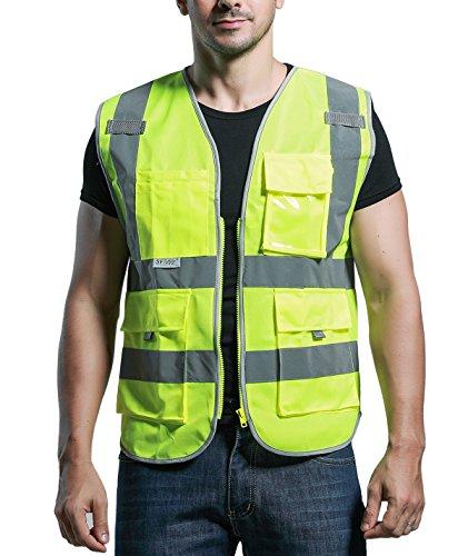 Panegy Reflektierende Weste Sicherheitsweste mit Taschen - Neon gelb Größe M