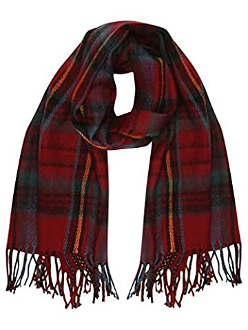M&Co Teen Girl Red Check Tartan Inspired Tassel Trim Soft Brushed Knitted Scarf Red One Size