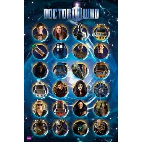 1art1® Doctor Who - Póster con marco (91 x 61 cm), diseño de personajes de Doctor Who