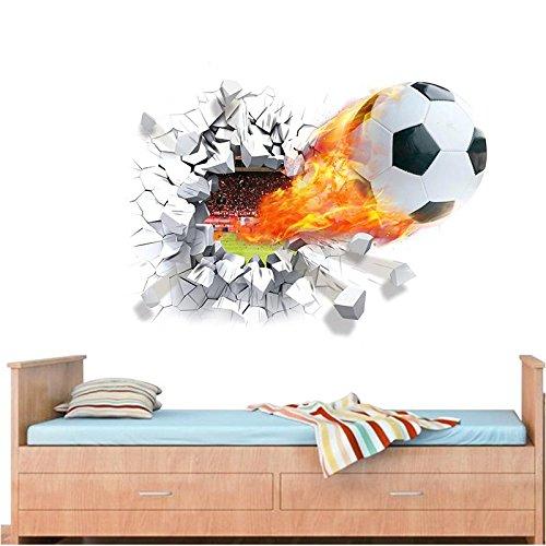 CJJCJJ Wandaufkleber Feuer fußball durch wandaufkleber für kinderzimmer Dekoration abziehbilder fußball spaß 3D wandbild Kunst Sport Spiel PVC Poster