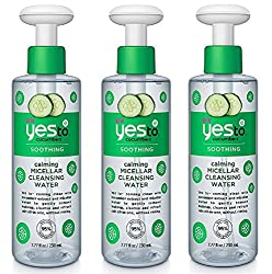 Yes To Cucumbers Soothing Calming Micellar Cleansing Water, 7.77 Oz (Pack of 3) + FREE Eyebrow Trimmer