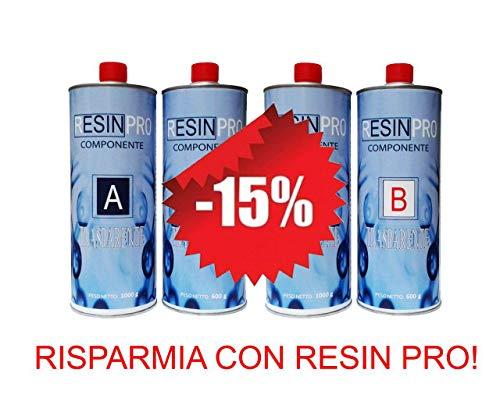 UN'OFFERTA SPECIALE (1,6 KG + 1,6 KG) – SET RESINA EPOSSIDICA TRASPARENTE / MULTIUSO KG 3,2 KG EFFETTO ACQUA