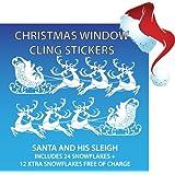 New Santa Sleigh Christmas Window Stickers + 50% Xtra Snowflakes