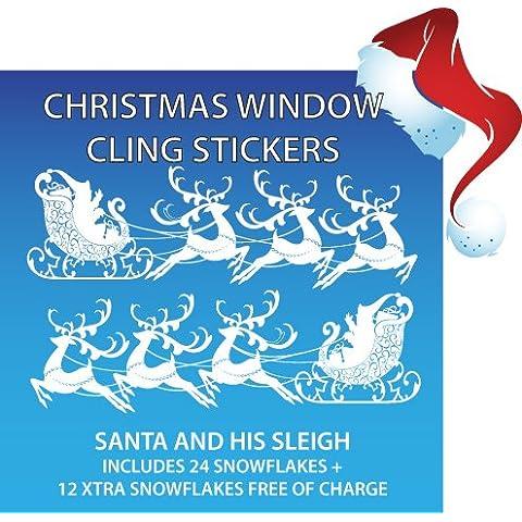Aurum92 - Adesivi per finestra, motivo: slitta di Babbo Natale, con il 50% in più di fiocchi di neve