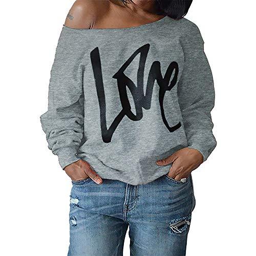 Damen Locker T-Shirt Langarm Outfit Mode Love Drucken Bluse Oberteile Frauren Sexy Off-Schulter Tuniken Sweatshirt Oversize Pulli Pullovershirt Cool Streetwear Kleidung