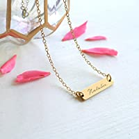 Personalised Gold Little Name Bar Script Necklace, Gold Name Bar Necklace, Personalised Gold Bar Necklace, Bridesmaid Gift, Birthday Gift