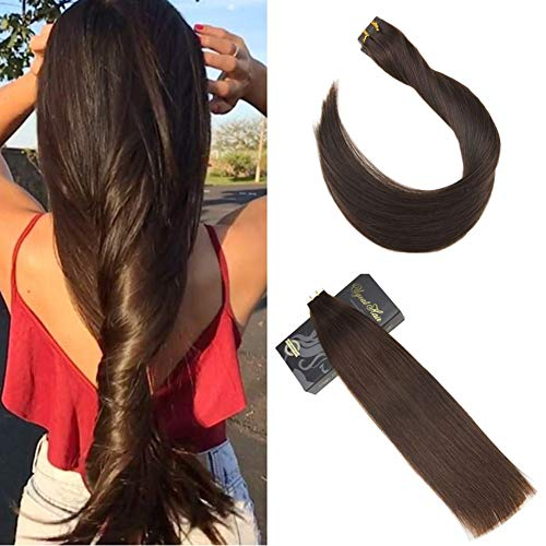Ugea 16 Zoll/40cm Tape Extensions Echthaar 20pcs 50g 4# Dunkelbraun PU Haarverlangerung Glatt Remy Echthaare Tape in Extensions
