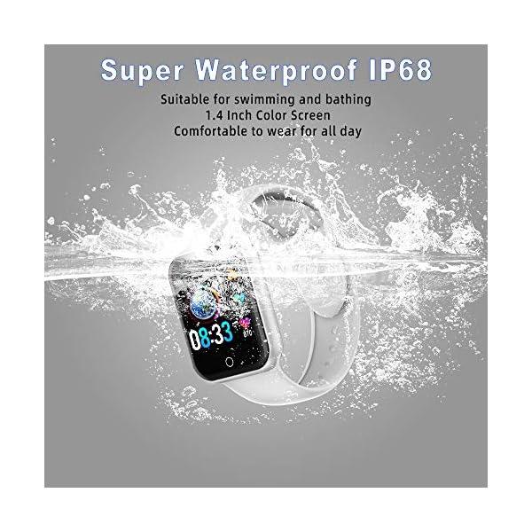 Reloj Inteligente, 1.4 Inch Smartwatch with Monitoreo de presión Arterial, Pulsómetro Impermeable IP68 Pulsera Actividad con Inteligente de Podómetro y Monitoreo del Sueño para Android y iOS 6