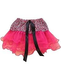 FENICAL Falda de Tutú con Estampado de Leopardo Bailarina Pettiskirt Falda de Ballet con 3 Niños Esponjoso en Capas (Rosa Rojo)