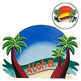 Wandschild Aloha Willkommensschild Hawaii-Schild Dekoschild Südsee Hawaii Wandbrett Türschild Holzschild Bild Blau