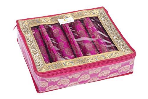 HomeStrap 4 Rod Brocade Bangle Box - Pink - Pack of 1