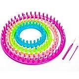 Strickring 6 tlg Knitting Loom inkl. 1 Garnnadel - 1 Strickhaken - mit Anleitung - Kinderleichte Handhabung (Ø 29cm - 24cm - 19cm - 14cm)