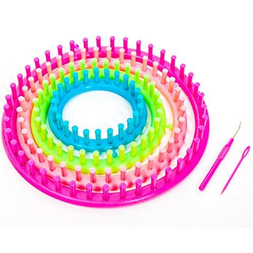 Strickring 6 tlg Knitting Loom inkl. 1 Garnnadel - 1 Strickhaken - mit Anleitung - Kinderleichte Handhabung (Ø 29cm - 24cm - 19cm - 14cm) Kind Knitting Loom