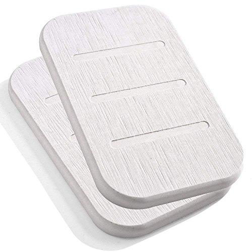 Beige-deck-matte (Marbrasse, Diatomit-Seifenschale, antibakterieller Seifenhalter, saugfähiger Seifenshalter und Ton-Untersetzer, 2 Stück, aus selbsttrocknender Diatomitenerde (Beige, länglich))