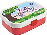 Mein Zwergenland Brotdose Mepal Campus mit Bento Box und Gabel mit eigenem Namen Eulen (Rose)