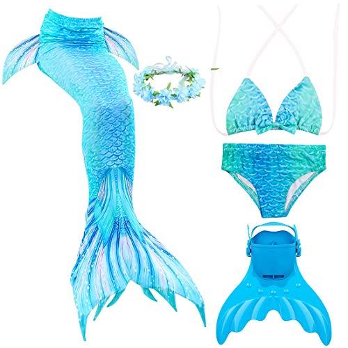 Magogo Meerjungfrau Schwanz Swimmable mit Schwimmflossen Training Flippers verziert Kranz, Mädchen Princess Bikini Set Cosplay Badeanzug Kostüm (XXL 141-150cm, 141) (Einfach Zu Machen Cosplay Kostüm)