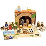Corasol 50100B Spielkrippe mit Holzfiguren für Kinder in hochwertigem Aufbewahrungs-Koffer mit Weihnachts-Geschichte, Mehrfarbig, 26-teilig (1 Set)