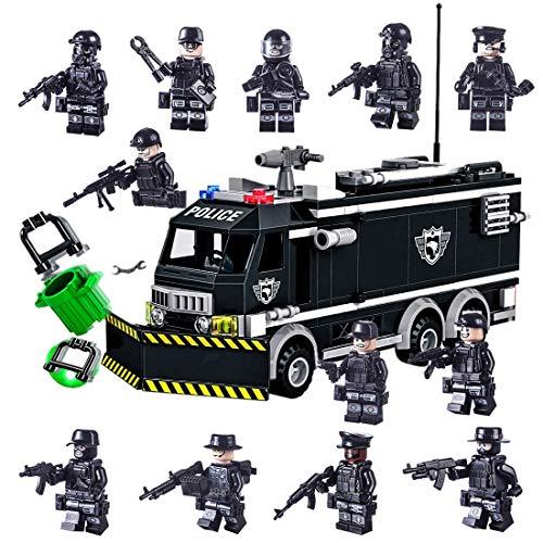 Spieland SWAT Team Polizei Fahrzeug mit 16 St. SWAT Team Polizei Minifiguren und Waffen für Kinder, passen zum Lego