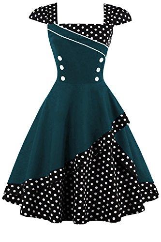 Babyonlinedress Robe Rétro Vintage année 1950 Style Audrey Hepburn Rockabilly Swing Col Carré Grande Taille Cocktail Soirée Vert