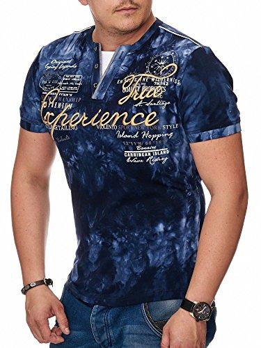 T-Shirt Herren mit Knopfleiste | verwaschene Tshirts für Männer | Herrenshirt Kurzarm mit gestickten Details | sportliche Männer Sommer Shirts | Camp Vlnt Slim Fit (Bis 5XL) LG-003 Navy Blau Experience