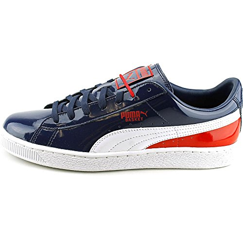 Puma Basket Classic Embossed Wool Lackleder Turnschuhe Peacoat-white-high risk red