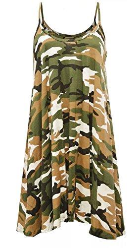 Islander Fashions Femmes Sans Manches Bretelles Imprim Cami Swing Dress Dames Fantaisie Fte Porter Long Gilet Haut S / 3XL Camouflage Print