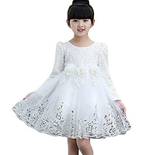 Yying Mädchen Tutu Kleider - Prinzessin Kleider Blumenkleid Spitze Kleider Pailletten Kleid Party Hochzeit Festivals Weiß Rosa Rot 15