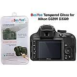 Nikon D3300 D3200 LCD Protector de pantalla de cristal templado 9H Dureza óptico de besyee, 0,33 mm ultrafina DSLR hombro de la cámara de vidrio templado con protector de pantalla para Nikon D3200 D3300