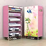 Keekos® Digital Print Fancy and Portable Foldable Collapsible Closet/Cabinet Collapsible Wardrobe Organizer, Multipurpose Storage Rack for Kids and Women, Clothes Cabinet, Bedroom Organiser_6 Layer Pink